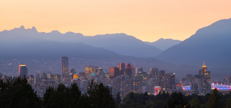 Vancouver at Sunset / This photo was taken as the sun was going down.  This is looking north towards the city.  The north shore mountains can be seen in the background.